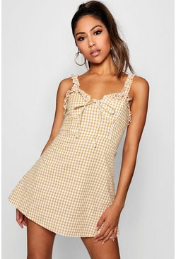 Womens Mustard Ruffle Shoulder Gingham Mini Dress