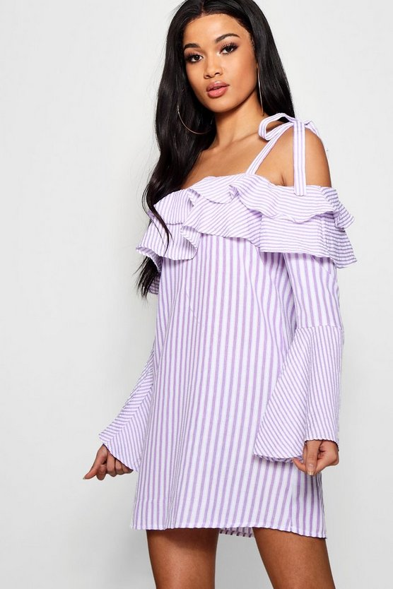Striped Flared Sleeve Shift Dress