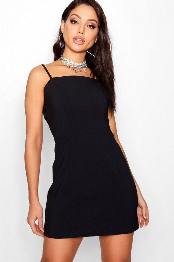 Womens Panelled Square Neck Bodycon Dress