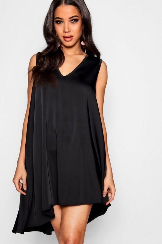 Plunge Asymmetric Swing Dress