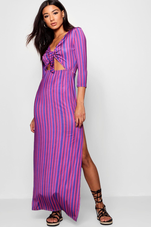 Boohoo Womens Slinky Double Split Striped Maxi Dress | eBay