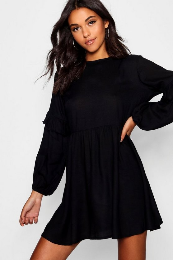 Balloon Sleeve Tassel Trim Shift Dress