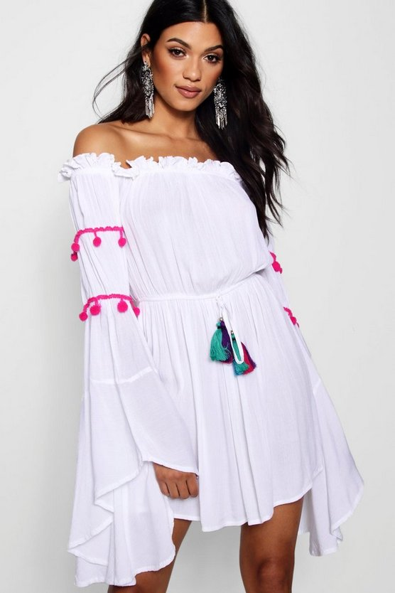 Off The Shoulder Flute Sleeve Shift Dress