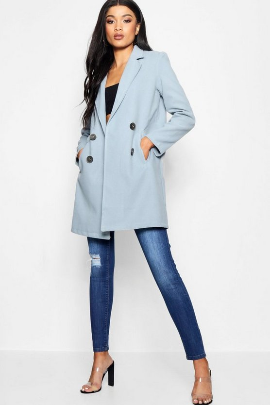 Blue Collared Tailored Wool Look Coat