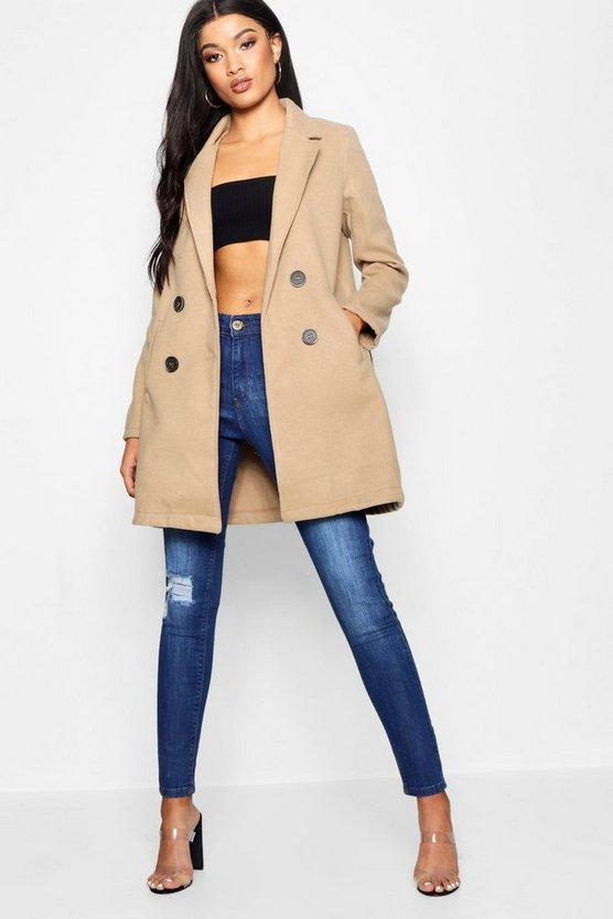 Womens Camel Collared Tailored Wool Look Coat