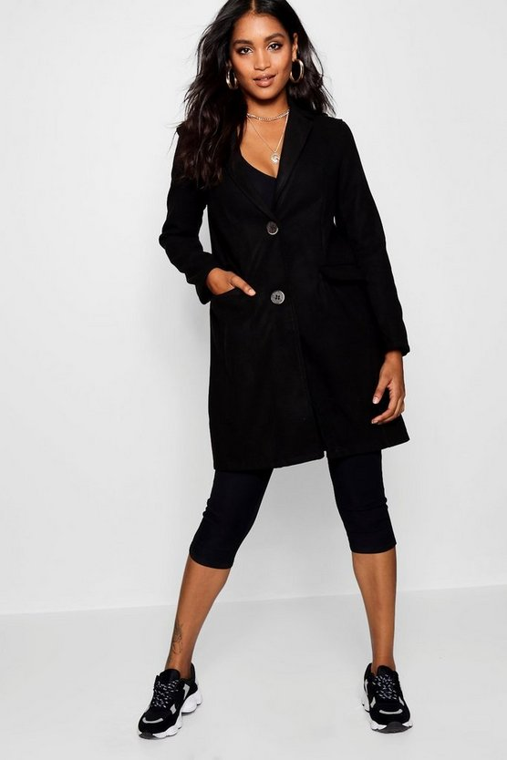 Black Collared Wool Look Coat