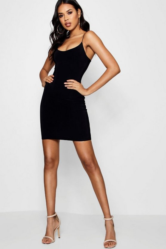 Black Strappy Double Layer Bodycon Dress