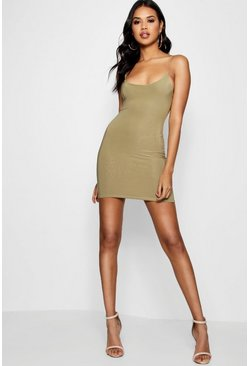 Womens Soft green Strappy Double Layer Bodycon Dress