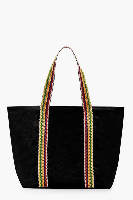 Womens Black Striped Handle Beach Bag