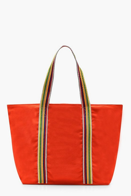 Striped Handle Beach Bag