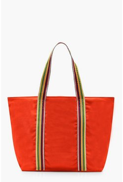 Womens Orange Striped Handle Beach Bag