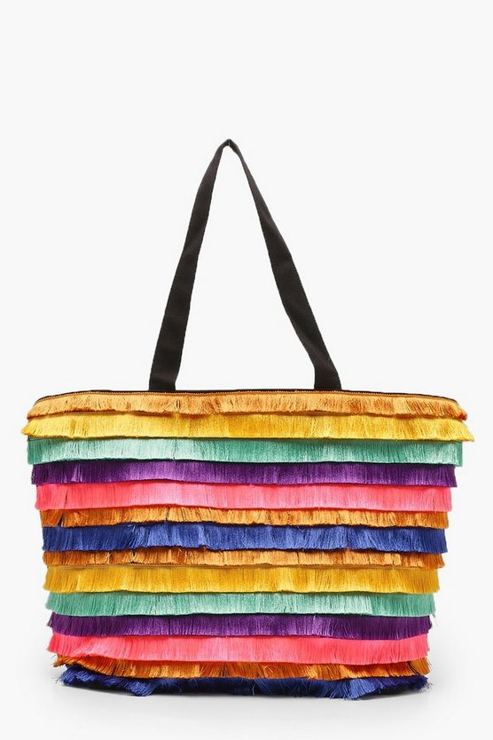 Multi Colour Fringe Beach Bag