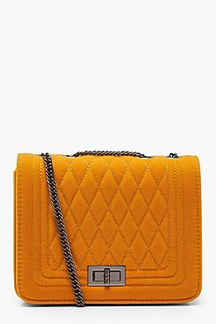 Suedette Quilted Cross Body Bag