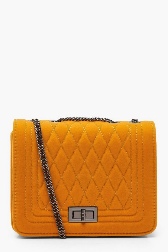 Suedette Quilted Cross Body Bag by Boohoo