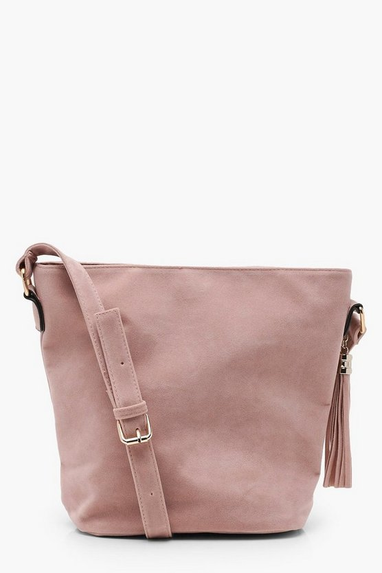 Suedette Bucket Cross Body Bag