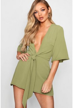 Military green Tie Front Playsuit