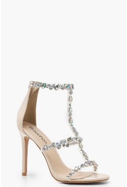 Womens Nude Patent Embellished Cage Sandals