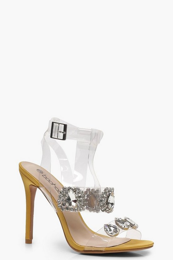 Embellished Clear Strap Sandals