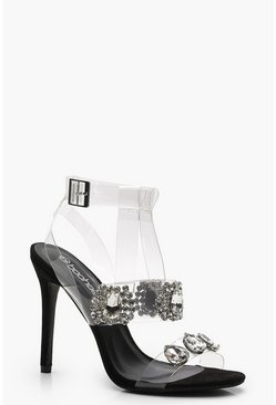 Womens Black Embellished Clear Strap Sandals