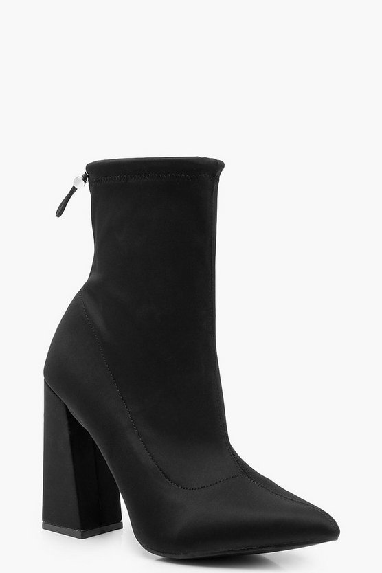 Womens Black Flared Heel Sock Boots