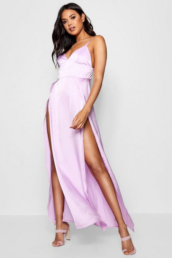 Katherine Satin Extreme Split Maxi Dress
