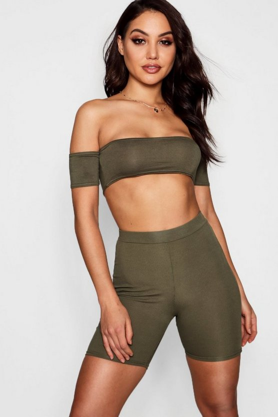 Khaki Basic 3/4 Midi Length Ribbed Cycling Shorts
