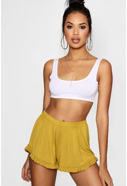 Womens Olive Ruffle Hem Flippy Shorts
