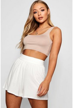 Womens Ivory Basic Flippy Shorts