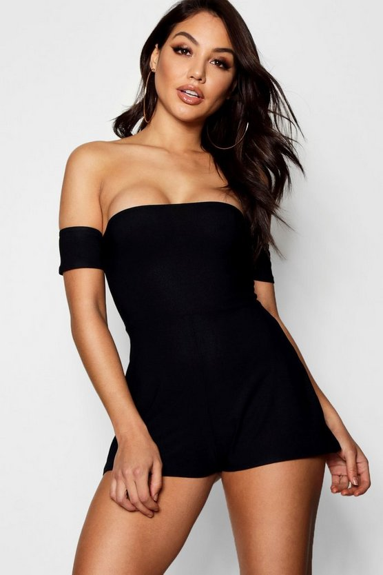 Womens Black Bandeau Sleeve Detail Crepe Playsuit