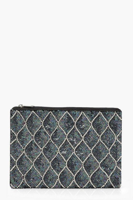 Mermaid Sequin And Bead Clutch, Multi, Donna