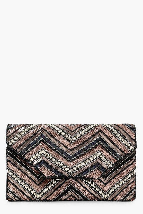 Rainbow Sequin Zigzag Clutch