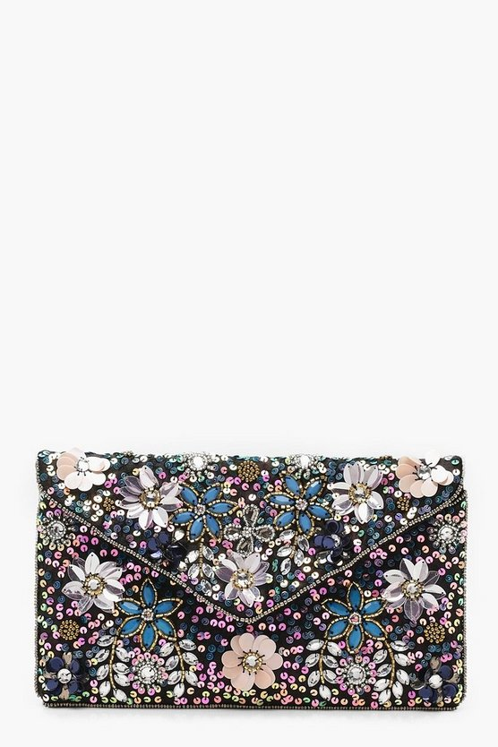Premium Floral Embellished Chain Clutch