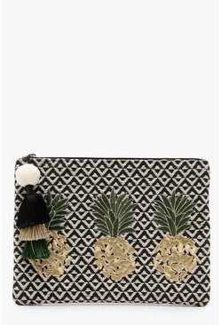 Pineapple Embroidery Clutch, Black, FEMMES