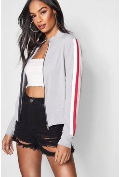 Womens Grey Sport Stripe Funnel Neck Bomber