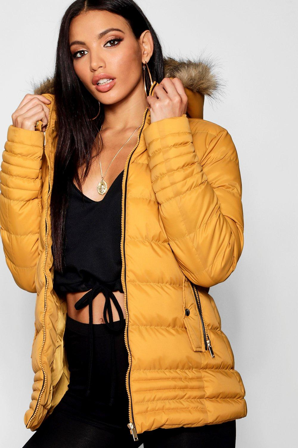 With Hood Jacket Fur Faux Padded mustard Trim wFP8qS7
