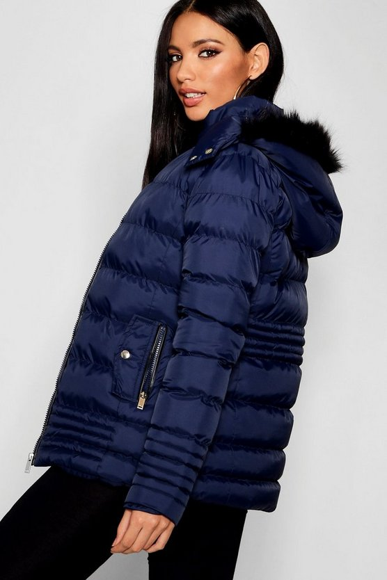 Padded Jacket With Faux Fur Trim Hood