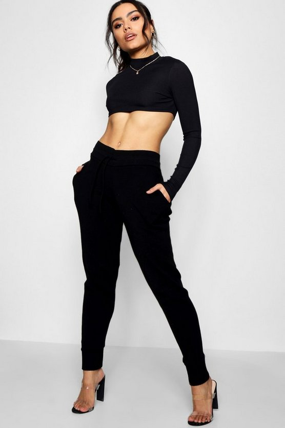 Womens Black Boutique Heavy Knitted Lounge Jogger