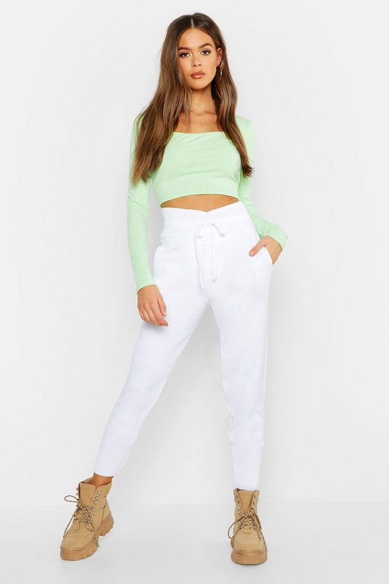 Womens White Boutique Heavy Knitted Lounge Jogger