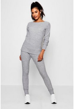 Womens Grey Slash Neck Knitted Lounge Set