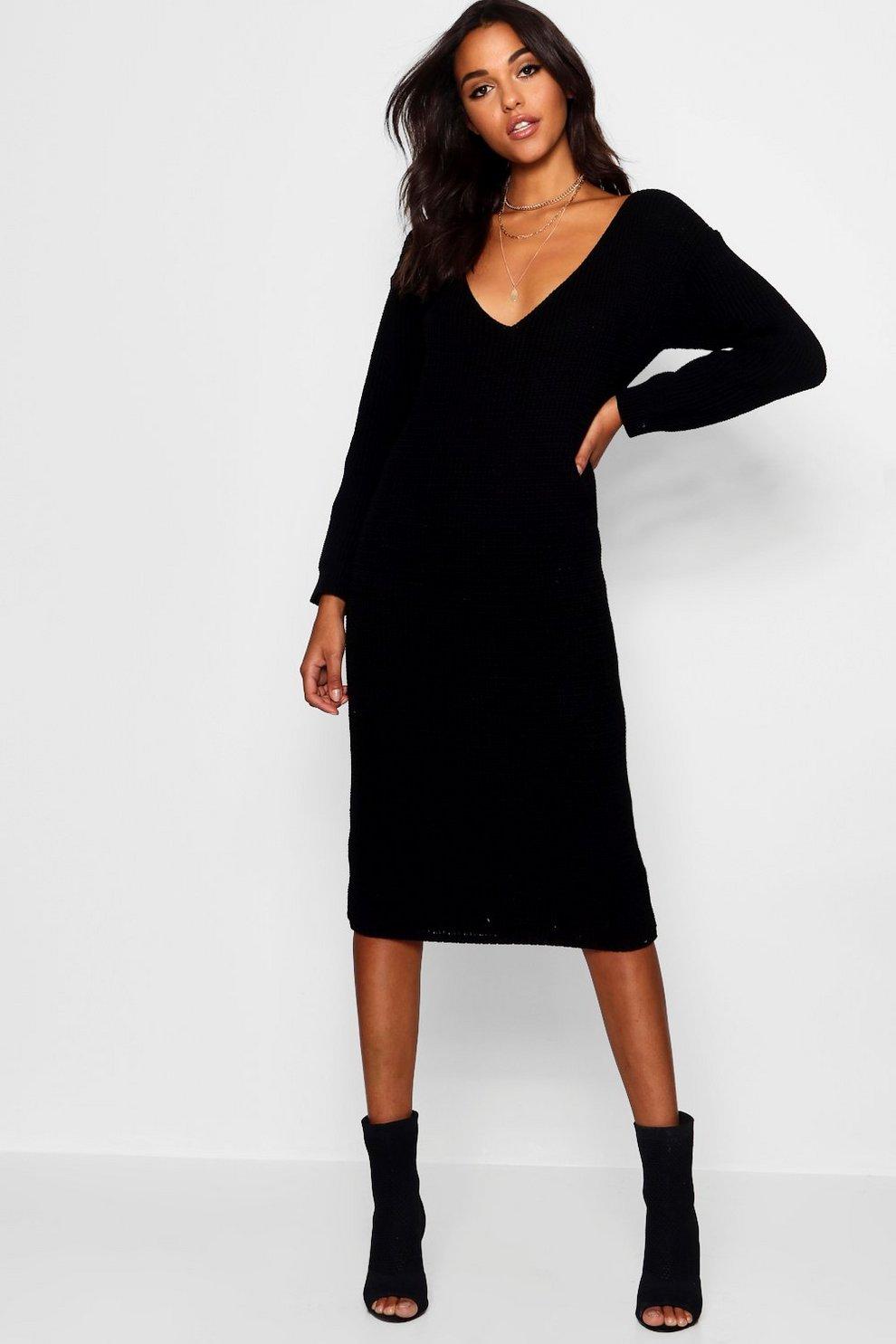 6dd04a52dbd Womens Black V Neck Oversized Midi Jumper Dress