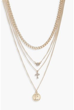 Coin Cross Diamante Layered Necklace, Gold, Donna