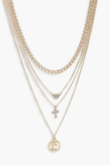 Womens Gold Coin Cross Diamante Layered Necklace