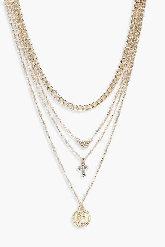 Womens Silver Coin Cross Diamante Layered Necklace