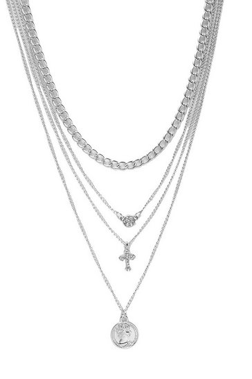 Silver Coin Cross Diamante Layered Necklace