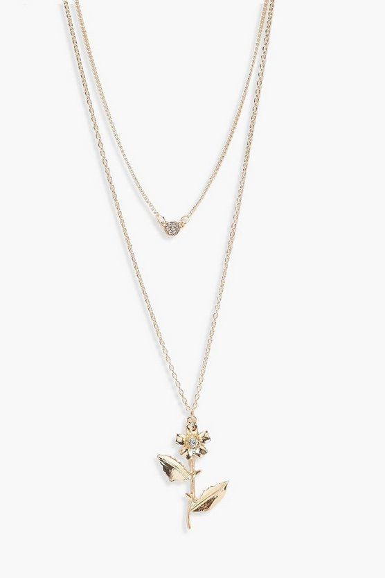 Womens Gold Emily Rose And Diamante Layered Necklace