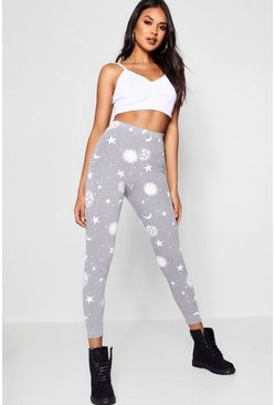 Womens Grey marl Sun & Moon Print Leggings