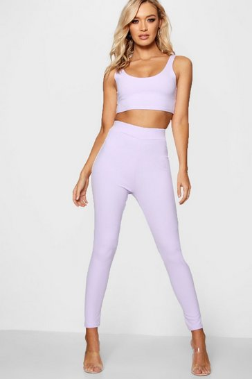 Womens Lilac Pastel Crepe High Waist Leggings