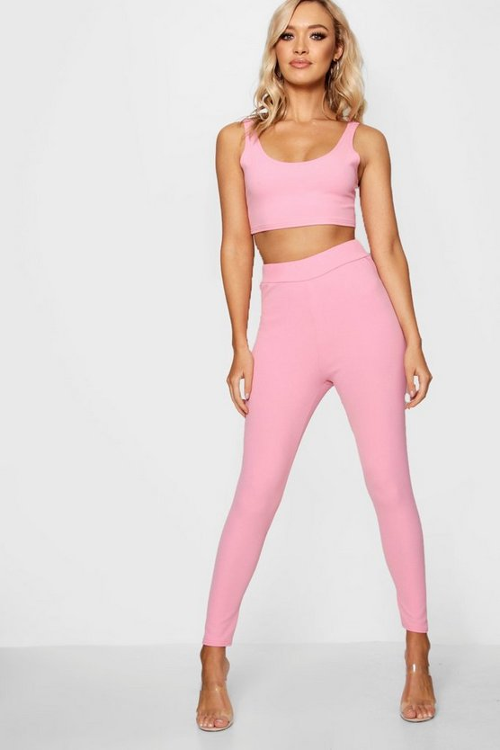 Pastel Crepe High Waist Leggings