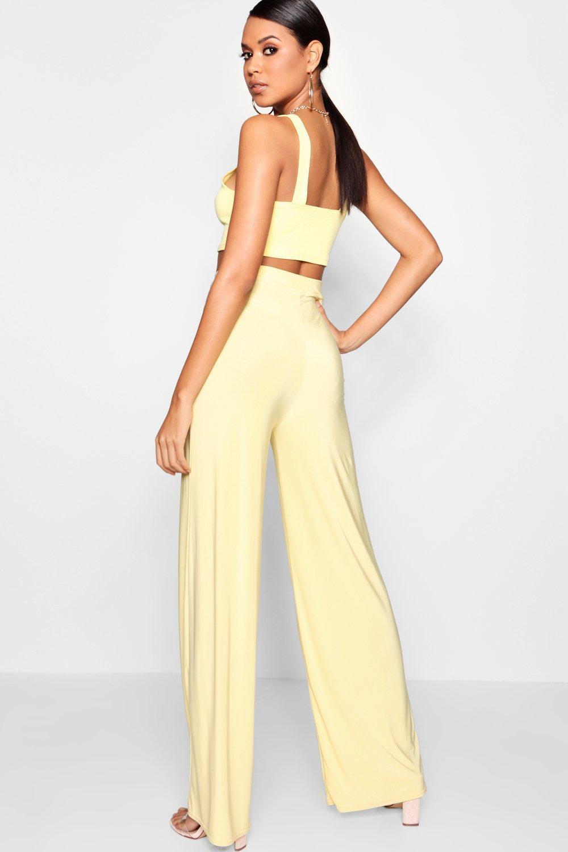 Slinky lemon Leg Trousers Slinky Wide Wide zq1H0w5xn