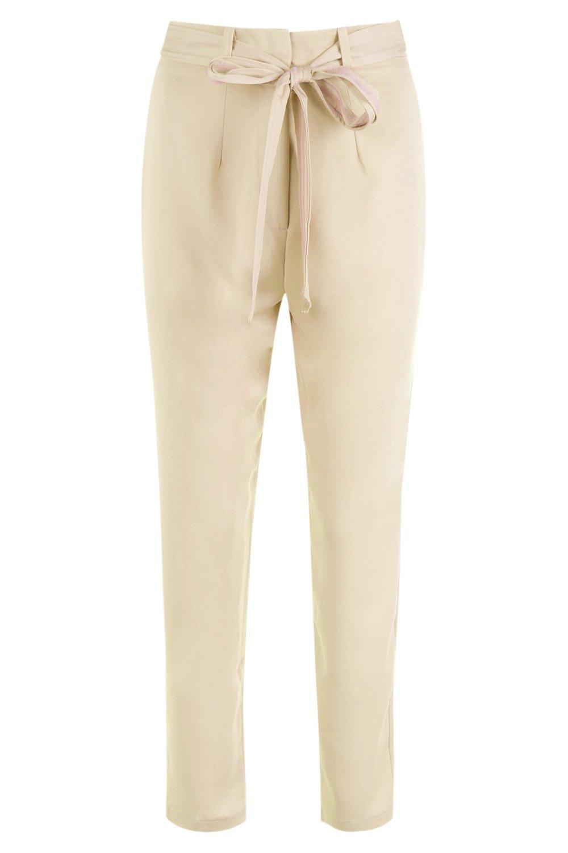 Tie Satin sand Trousers Slimline Waist Woven F0qaFr